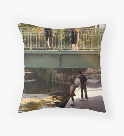 above and below the bridge Throw Pillow