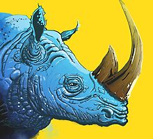 Blue Rhino on Yellow Background by grosvenordesign