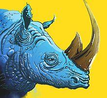 Blue Rhino on Yellow Background by grosvenordesign