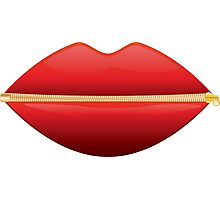 Zipped Lips Photographic Print