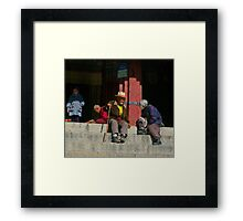 Friends, Dreprung, Tibet. Framed Print