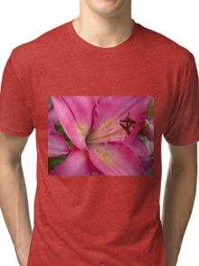 Pink Lily in the garden 3 Tri-blend T-Shirt