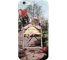 Pretty little Kitty with a heart balloon iPhone Case/Skin