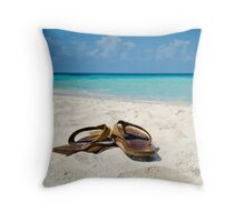 Caribbean Beach Flip Flops Throw Pillow
