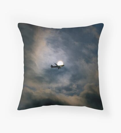 Airplane and sun Throw Pillow