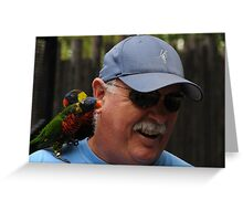 Man Beseiged By Birds Greeting Card