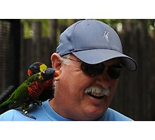Man Beseiged By Birds Photographic Print