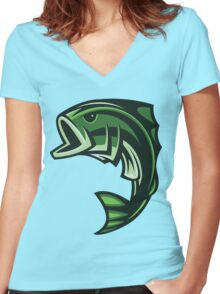 Green Fish Women's Fitted V-Neck T-Shirt