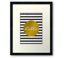 Black & White Stripes and Gold Framed Print