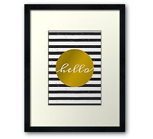 Black & White Stripes and Gold Framed Print
