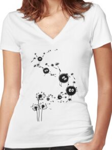 Flying Susuwatari Women's Fitted V-Neck T-Shirt