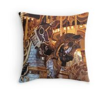 The Golden Age of The Carousel Throw Pillow