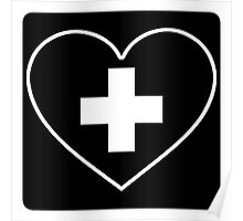 Get Well Soon, Sexy Nurse, Black, Heart, First Aid, Medical Poster