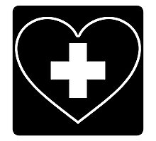 Get Well Soon, Sexy Nurse, Black, Heart, First Aid, Medical Photographic Print