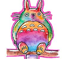 Cute Colorful Totoro! Tshirts + more! (watercolor) Jonny2may by Jonny2may