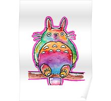 Cute Colorful Totoro! Tshirts + more! (watercolor)  Poster