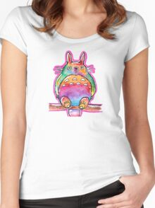 Cute Colorful Totoro! Tshirts + more! (watercolor) Jonny2may Women's Fitted Scoop T-Shirt