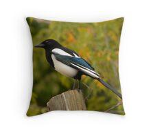 Blackbilled Magpie Throw Pillow