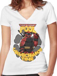 Teenage Mutant Ninja Pool! Women's Fitted V-Neck T-Shirt