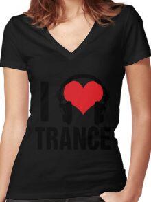 I Love Trance Music Women's Fitted V-Neck T-Shirt
