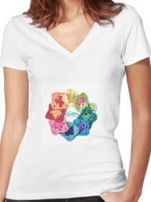 Happy Everything Granny Squares Women's Fitted V-Neck T-Shirt