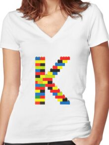 K t-shirt Women's Fitted V-Neck T-Shirt