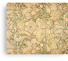 'Peonies' by Alphonse Mucha (Reproduction) Canvas Print