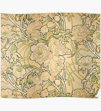 'Peonies' by Alphonse Mucha (Reproduction) Poster