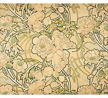 'Peonies' by Alphonse Mucha (Reproduction) Photographic Print