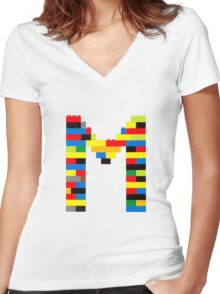 M t-shirt Women's Fitted V-Neck T-Shirt