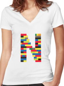 N t-shirt Women's Fitted V-Neck T-Shirt