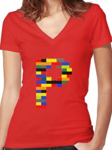 P Women's Fitted V-Neck T-Shirt