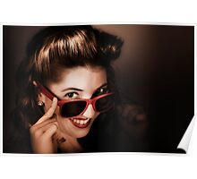 Dark summer fashion. pin up woman in sunglasses Poster