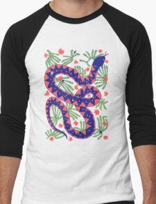 Snake and Flowers Men's Baseball ¾ T-Shirt