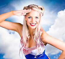 Australian Navy Girl Saluting Australia Day by Ryan Jorgensen