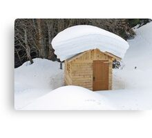 Snow on the roof Canvas Print