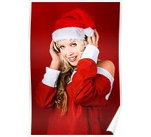 Happy Dj Christmas Girl Listening To Xmas Music Poster