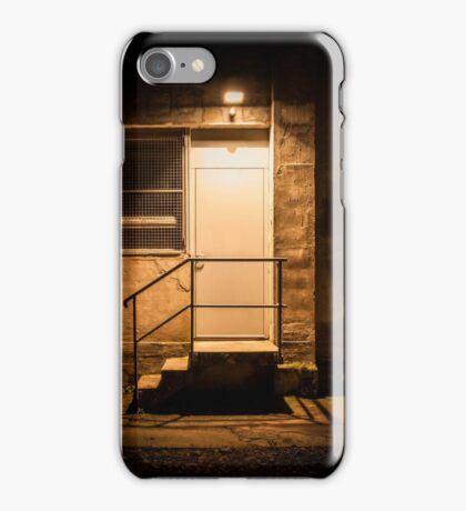 Stairs and door illuminated in the night iPhone Case/Skin