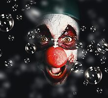 Scary horror circus clown laughing with evil smile by Ryan Jorgensen