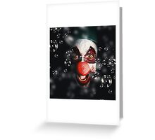 Scary horror circus clown laughing with evil smile Greeting Card