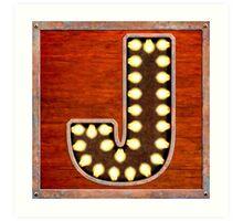 Vintage Lighted Sign - Monogram Letter J Art Print