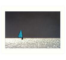 sailing boat in the sun Art Print