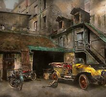 Car - Cour, Rue de Valencemm France - A Sunday afternoon - 1925 by Mike  Savad