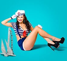 Gorgeous pin up sailor girl wearing hat by Ryan Jorgensen
