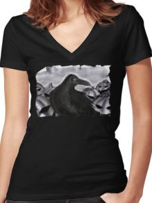 Something Wicked this way comes original colours on a tee  Women's Fitted V-Neck T-Shirt