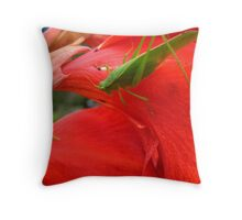 Little Green Grass Hopper Throw Pillow