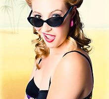 Surprised pinup girl on tropical beach background by Ryan Jorgensen