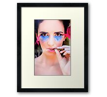 Woman Smoking Cigar Framed Print