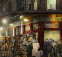 City - NY - Washington Street Market, buying at night - 1952 Sticker