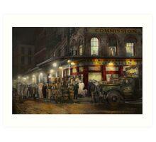 City - NY - Washington Street Market, buying at night - 1952 Art Print